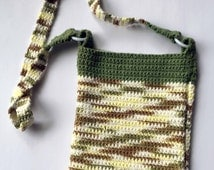Brown and green ombre cotton yarn lined messenger bag