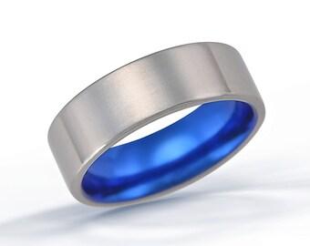 Flat Band, Titanium Ring, Blue Ring, Wedding Ring