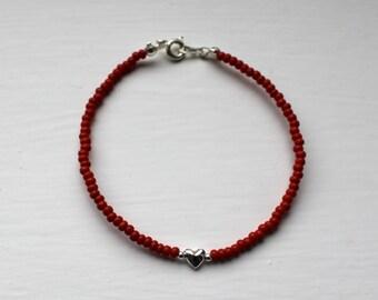 Seed bead bracelet-Sterling Silver Heart-Red