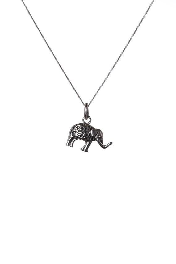 Sterling Silver 925 Elephant Pendant Necklace Spiritual Jewellery Yogi Jewellery Handmade Free UK delivery