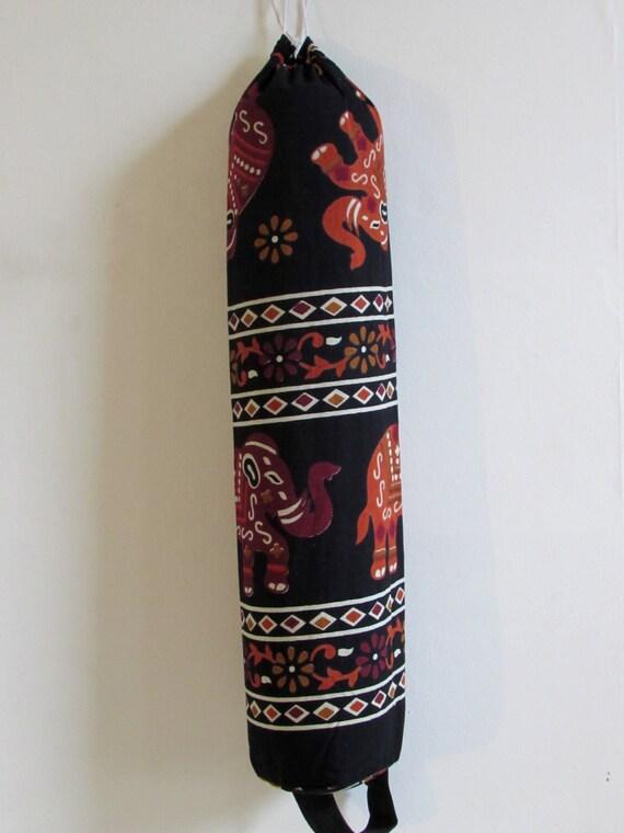 Yoga Mat Bag Pilates Mat Bag handmade Indian Brown & Burgundy Elephants  free UK delivery (b44) Free gift