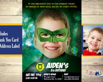 Green Lantern Invitation with your boy as the Green Lantern. Green Lantern Birthday Invitation. Green Lantern Party. Green Lantern Costume.