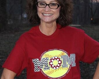 "Cardinal Red ""Softball Mom"" T-Shirt"
