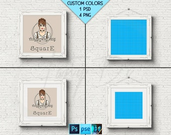 Square #W01 Ornate 10x10 Black Matted Unmatted Frame on White Brick Wall, 4 Print Display Mockups, PNG PSD PSE Opening 25x25cm Custom colors
