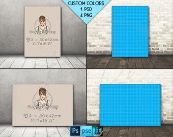 A3 30x42cm #F07 A1 A2 A4 Portrait & Landscape Stretched Canvas on Wooden Floors, 4 Canvas Display Mockup,  PNG PSD PSE, Custom colors