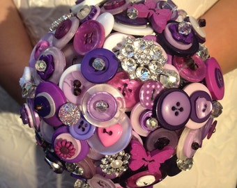 Small Purple Bridesmaid Button Bouquet, wedding bouquet, wedding flowers, UK seller