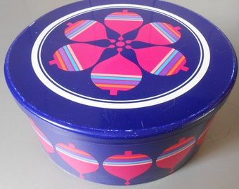 Vintage 1970s SIMEL VICH - Espana Tin Metal Canister Cookie jar. Groovy Psychedelic Atomic print Purple Pink. Made in Spain. Retro Kitchen