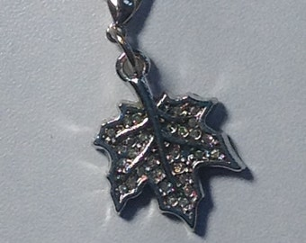 Maple leaf with crystals DANGLE charm