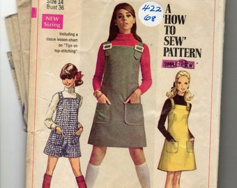 """VINTAGE SIMPLICITY Pattern 7877, Jumper and Mini-Pant Jumper, (1968) Size 14 - A """"How to Sew"""" Pattern - CUT"""