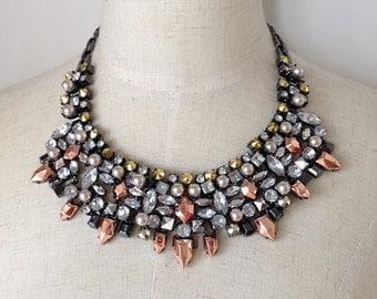 Rose Gold Stone and Pearl Bib Statement Necklace