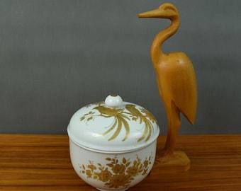 SALE Vintage  porcelain bowl / trinket bowl /West Germany AK Kaiser designed by K. Nossek with golden bird and flowers decoration.
