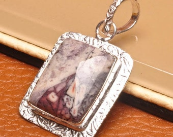 Natural Tiffany Stone silver plated pendant  ( #J1543)