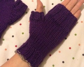 Deep purple fingerless gloves, acrylic violet women's knit wrist warmers