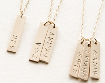 Personalized Vertical Bar Necklace / Vertical Name Bar Necklace / Custom Name Necklace  / Gold Vertical Bar Necklace / Monogram Necklace