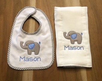 Elephant Bib + Burp Cloth Set : personalized, embroidered, appliqued, name