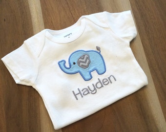 Baby Elephant Onesie : appliqued + personalized, name, animal