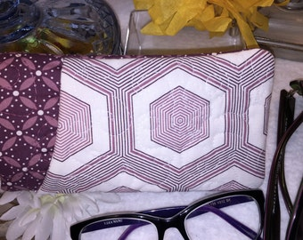 DOUBLE Glasses Case, Purple Double Sunglasses, Holds Two Pair of Eyeglasses, Quilted Sunglass Eyeglass Fabric Pouch