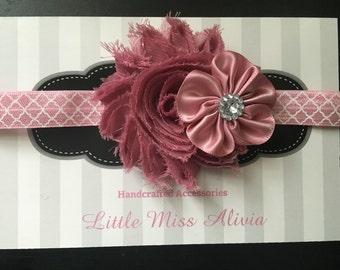 Mauve Double Flower Headband or Clip - Shabby Flower - Babies - Toddler - Child