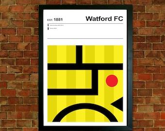 Watford Football Club Print, Football pictures, Mid Century Art, Modernist Typography Print, Childrens Bedroom Art, Boys Bedroom posters