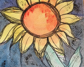 Original Sunflower Painting, Mixed Media, Sunflower Art, Sunflower Painting