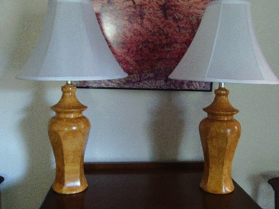 Pair of ceramic lamps vinegar painted in ocher