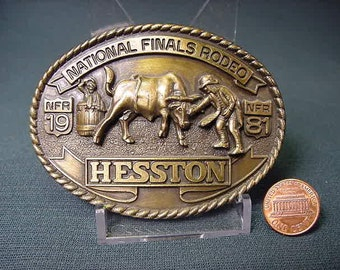 Vintage Old Collectible * Belt Buckle * Hesston National Finals * 1981