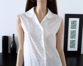 chemisier blanc vintage broderie anglaise taille 40 / uk 12 / us 8