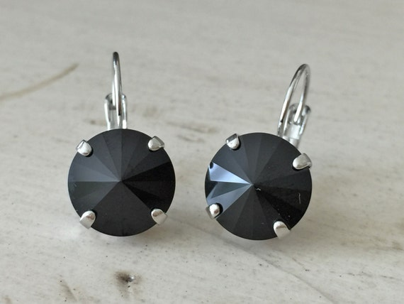 Jet Black Swarovski Crystal Earrings, Silver