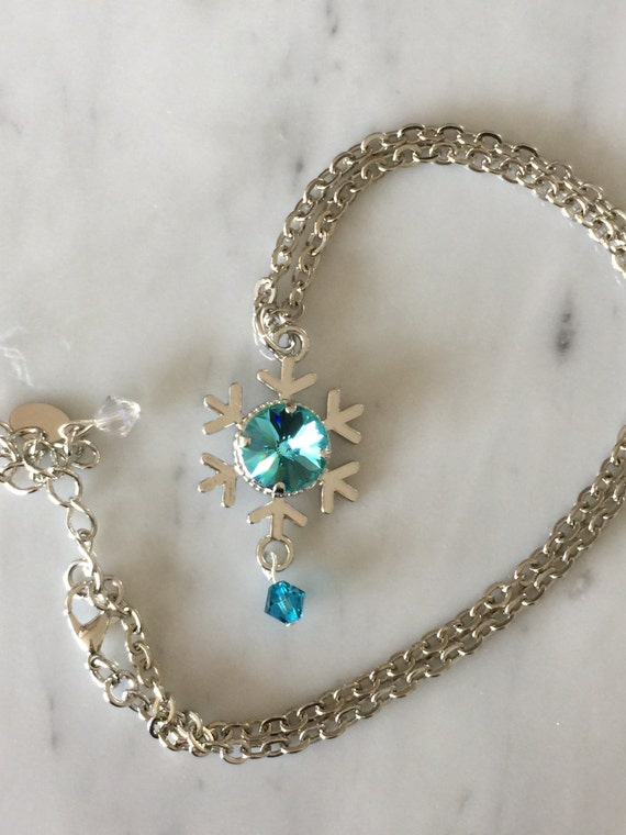 Light Turquoise Crystal Snowflake Pendant Necklace, Silver