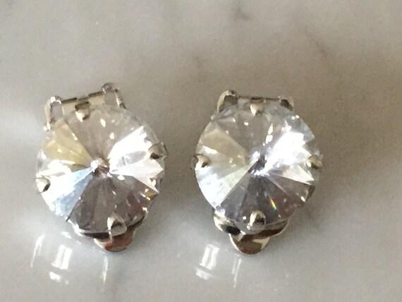 Crystal Blue Shade Clip On Earrings,  Swarovski Blue Clip On Earrings, Swarovski Crystal Blue Shade Clip On Earrings