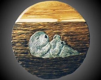 Sunrise Sea Otters Wall Sculpture
