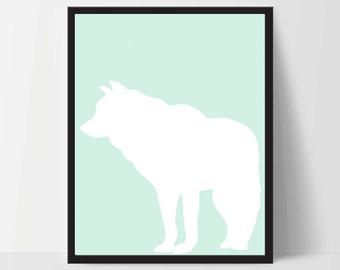 Animal Wolf Wall Art, Unframed, Artwork, Home Decor, Modern Contemporary, Print Art, Boho, Nursery, Baby, Mint Green, 12x16 Inches