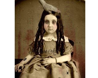 Creepy Girl Photo Victorian Hand Bizarre Altered Art Halloween  Cabniet Card Scary Child Instant Download Ephemera Scrapbook Card