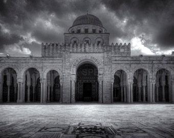 Black and White, photograph, Africa, Tunesia, kairouan,  Mosque of Uqba, Great Mosque, art print,