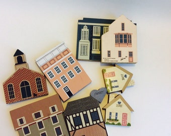 The Cat's Meow Series Village Wooden Blocks 8 Pieces of Vintage Handcrafted Miniature Buildings 1980s 1990s Mini  Small Homes Houses Set Lot