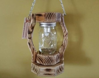 Outdoor Lantern Treated Wood Railroad Style Mason Jar Solar Light Clear