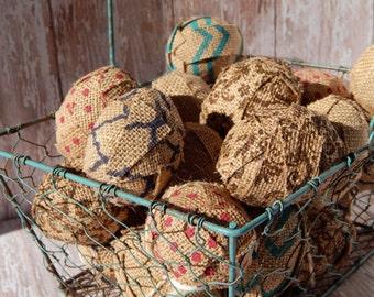 Burlap Easter Eggs - Rustic Easter Decor - Easter Eggs - Easter Egg Decor - Easter Decoration - Rustic Home Decor - Spring Decor - Set of 6