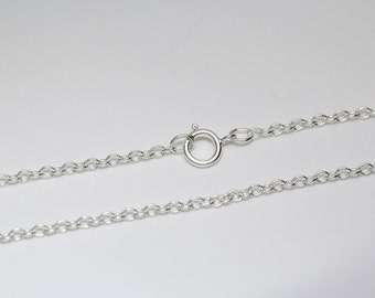 Sterling Silver 925 Cable Link Chain Necklace 1.8 mm with Spring Clasp