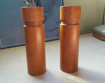 Vintage Mid Century Modern Wooden Candle Stick Holders