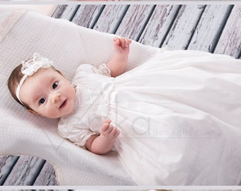 cotton baptism dress white or ivory, very simple and delicate baby dress with lace,