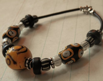 """African Trade Yellow Zen Gooseberry Black Agate Discs Sterling Silver and Leather Beaded Bracelet - 8.25"""""""