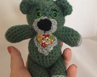 Hand crocheted mini 'sallygurumi' bear in sage green