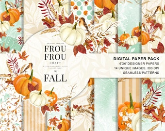 Autumn Paper Pack Fall Background Pumpkin Scrapbook Watercolor Halloween DIY Pack Thanksgiving Digital Planner Supplies Seasonal Orange Red