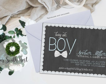 Little Gentleman Baby Shower Invitation DIY PRINTABLE Customizable Digital Print