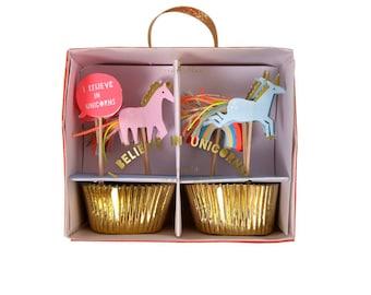 Unicorn Cupcake Kit  |  I Believe In Unicorns Cupcake Kit by Meri Meri  |  Unicorn Party Decor | Unicorn Cupcake Toppers | Unicorn Toppers