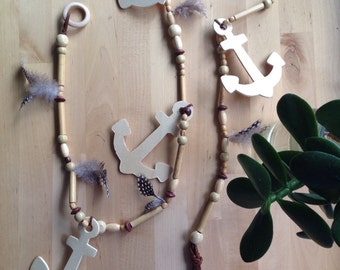 Feather + anchor timber bead garland
