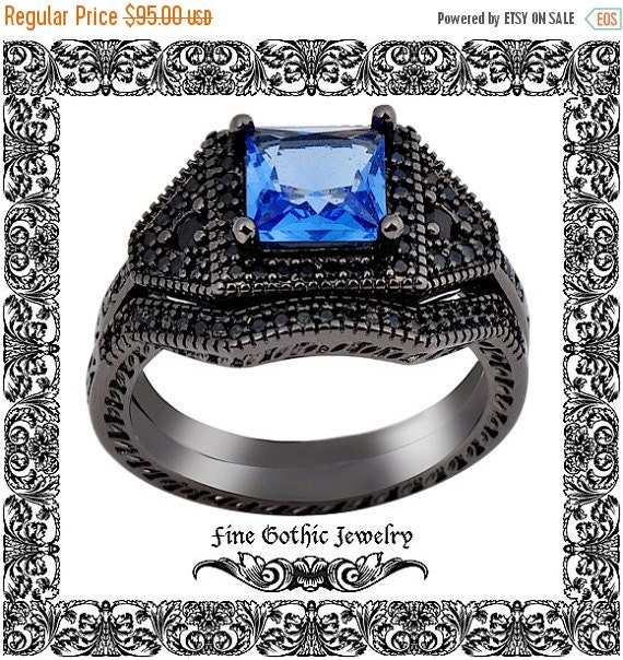 Engagement Ring Memorial Day Sale: MEMORIAL DAY SALE Gothic Wedding Rings Black By