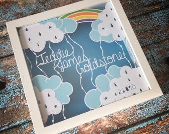 Personalised New Baby, Handmade Framed Papercut