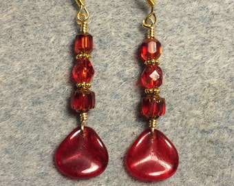 Translucent red Czech glass rose petal dangle earrings adorned with bright red Czech glass beads.