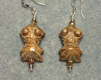 Picture jasper gemstone goldfish bead earrings adorned with tan Chinese crystal beads.